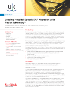 Leading Hospital, UKW, Speeds SAP Migration with Fusion ioMemory Solutions